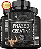 * MUSCLE PHASE ANABOLIC MONOHYDRATE CREATINE BLACK EDITION *Best Lab Tested Creatine - Phase 3 Creatine - Monohydrate Powder - HCI & Pyruvate - Extreme Bodybuilding Pills Capsules - By Muscle Phase