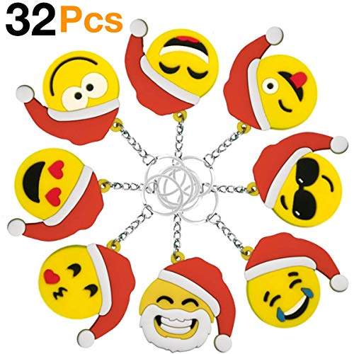 Christmas Keychains OHill 32 Pack Christmas Emoji Keychains for Christmas Kids Party Favor Supplies Xmas Goody Bag Fillers (Xmas For Kids Ideas Party)