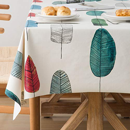 - LOHASCASA Square Vinyl Oilcloth Tablecloth Waterproof Wipeable PVC Heavy Duty Plastic Party Spill Proof Tablecloths for Cardtable Tablecloth - Colorful Leaves 4Ft 54 x 54 inch