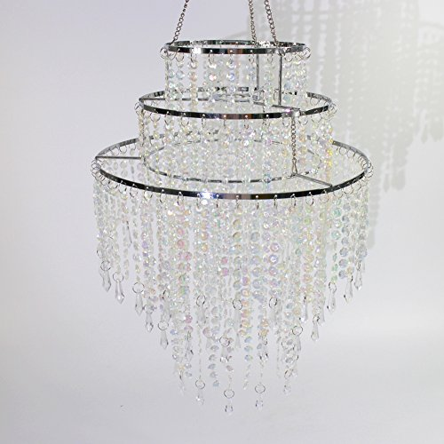 SUNLI HOUSE 3 Tiers Sparkling Acrylic Beaded Pendant Shade, Ceiling Chandelier Lampshade with Chrome Frame,12