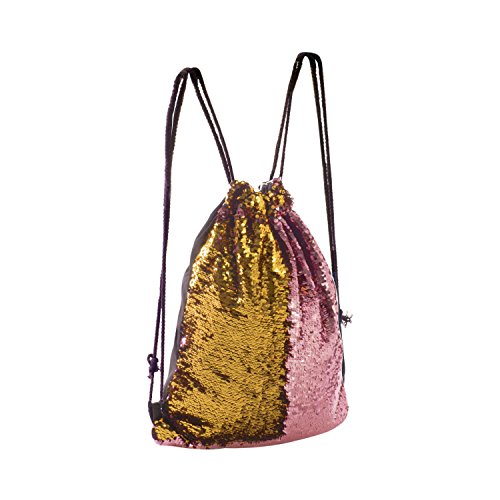 Dance Drawstring - Eyourlife Mermaid Bag Sequin Drawstring Backpack Dancing Bag Fashion Dance Bag Sequin Backpack Flip Sequin Bling Hiking Bags(Pink/Gold)