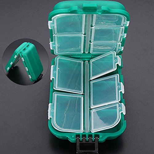 rtments Waterproof Hard Fishing Tackle Box Case, Hooks Lure Baits Storage Box ()
