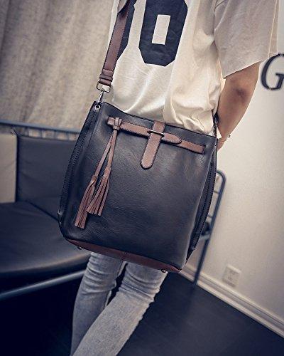 fashion handbag Black American bag female retro bag fringed bucket shoulder bucket and European new bag retro tide women's U8C7Tq4Uxw
