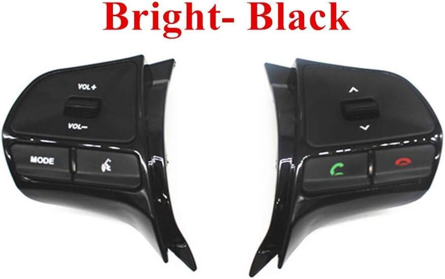 NO LOGO XJB-PULLERS, Rueda de dirección de Volumen de Audio del botón del Control de la música for KIA K2 Nueva RÍO K2 Switch En Teléfono Bluetooth Sound Back Light (Color : Bright Black)