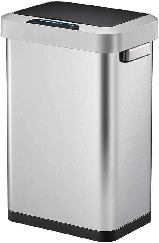 Amazon Com Eko Ek9262mt 45l Horizon 45 Liter 11 9 Gallon Rectangular Motion Sensor Trash Can Brushed Stainless Steel Finish Home Kitchen
