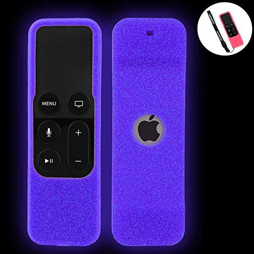 [Nightglow] Case for Apple TV 4K / 4th / fifth Gen Remote, Akwox Light Weight [Anti Slip] Shock Proof Silicone Cover for Apple TV 4K Siri Remote Controller [Lanyard Included]