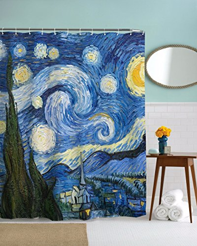 A.Monamour Starry Night Print Vincent Van Gogh Oil Painting Art Print Waterproof Mildew Resistant Fabric Polyester Shower Curtain For Bath Decor 150X180 Cm / ()