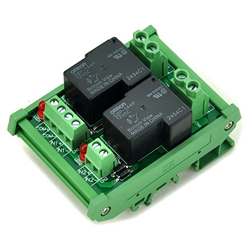 ELECTRONICS-SALON DIN Rail Mount Coil 12V Passive 2 Channel SPST-NO 30A 30Amp Power Relay Module.