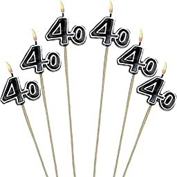 The Party Continuous 40th Birthday Party Molded Candle on a Stick Decoration, Pack of 6, Multi , 9 1/2\