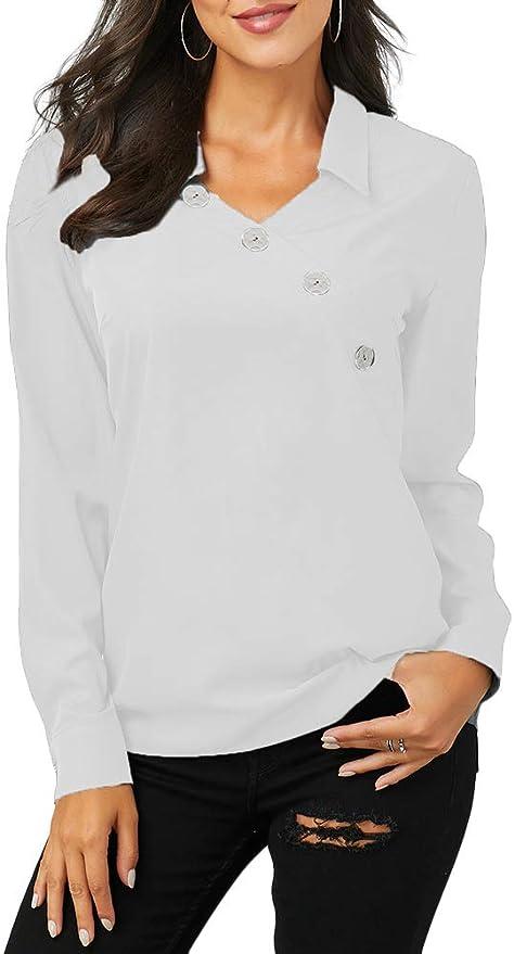 Onsoyours Donna Camicetta Chiffon Blusa Elegante Manica Lunga Botton Down Loose Top con Scollo V Ufficio Camicia di Lavoro