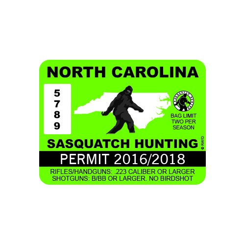 RDW North Carolina Sasquatch Hunting Permit - Color Sticker - Decal - Die Cut