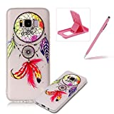 Clear Case for Samsung Galaxy S8 Plus,Soft TPU Cover for Samsung Galaxy S8 Plus,Herzzer Ultra Slim Pretty [Dreamcatcher Feather Pattern] Silicone Gel Bumper Flexible Crystal Transparent Skin Protective Case + 1 x Free Pink Cellphone Kickstand + 1 x Free Pink Stylus Pen
