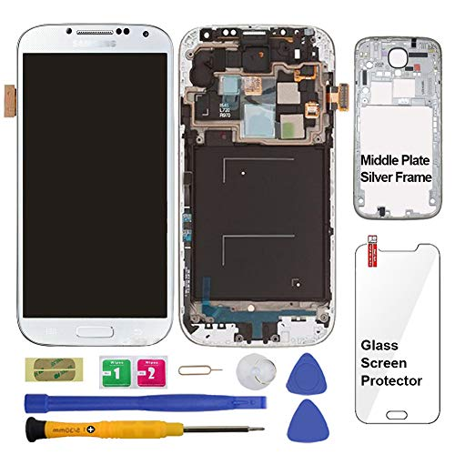 Display Touch Screen (AMOLED) Digitizer Assembly with Frame for Samsung Galaxy S4 SCH- I545 / SPH- L720 / SCH- R970 (for Mobile Phone Repair Part Replacement)(Repair Tool Kits) (White Frost)