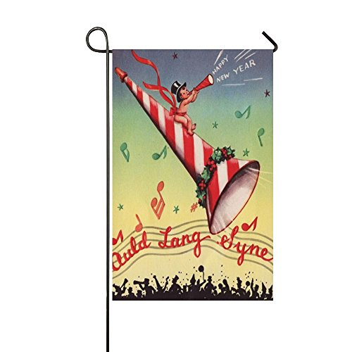 Baocnber Holiday Decor Outdoor House Flag- Happy New Year Loudspeaker Lang 12.5x18 Inch Double Sided Garden Flag New Loudspeakers