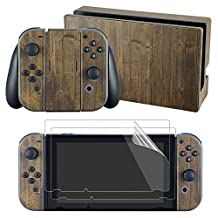 eXtremeRate Dark Old Wood Decals Stickers Full Set Faceplate Skin +2Pcs Screen Protector for Nintendo Switch Console & Joy-con Controller & Dock Protection Kit