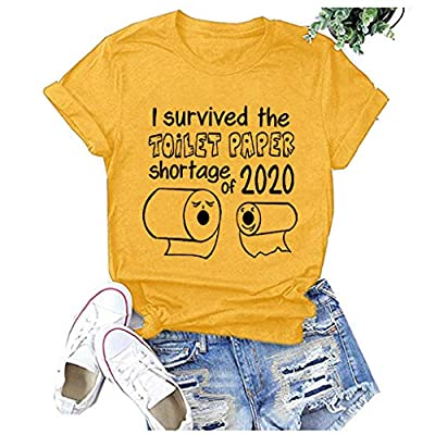 HIRIRI Women's Funny Graphic Letter Print T Shirt Comfy Cotton Tops Tees Short Sleeves O-Neck Loose Blouse: Clothing