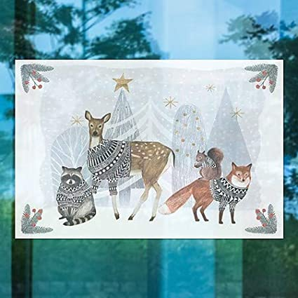 18x12 CGSignLab 5-Pack Holiday Decor Furry Friends Window Cling