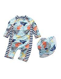 Sywwlov Baby Boy Swimsuit Kids One Piece Shark Rash Guard Sunsuit with Hat UPF 50+ UV