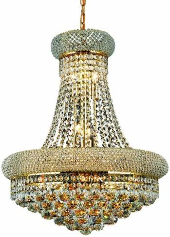 Elegant Lighting 1800D20G RC Primo 26-Inch High 14-Light Chandelier, Finish with Crystal Clear Royal Cut RC Crystal, 23.2 x 23.2 x 10.2 , Gold