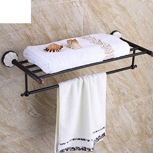 YAOHAOHAO The European Community of antiquity towel rack/all copper towel rack/Black shelving toilet