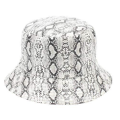 - ☀️☀️Men Women Snakeskin Pattern Double-Sided Wearing Visor Folding Basin Sun Protection Fishing Hats (White)