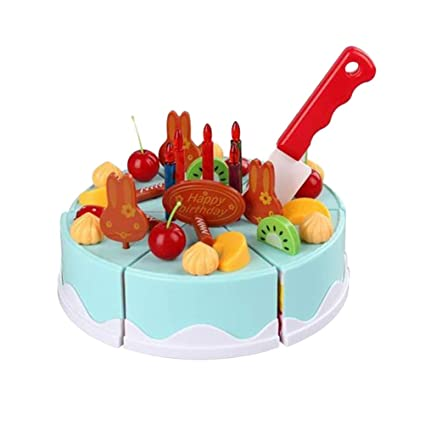 Amazon NUOBESTY 38pcs Birthday Cake Cutting Toy Food Fruits Playset Educational Toys For Kids Toddlers Blue Games