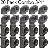 Brooklyn Pipe 3/4' Inch Elbow Tee Combo Pack (10 Elbows, 10 Tees) Threaded Pipe, 90 Degree Pipe Elbow Tee | Decorative Iron Piping, Metal Cast Pipe Fittings For DIY Furniture Projects
