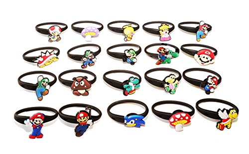 Super Mario Toadette Costume (AVIRGO 20 pcs Elastic Rubber Stretchable Releasable Ponytail Holder No-slip Hair Tie Set # 66-6)