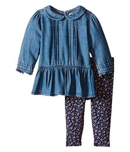 Ralph Lauren Polo Baby Girls Denim Shirt & Floral Leggings Set (12 M)