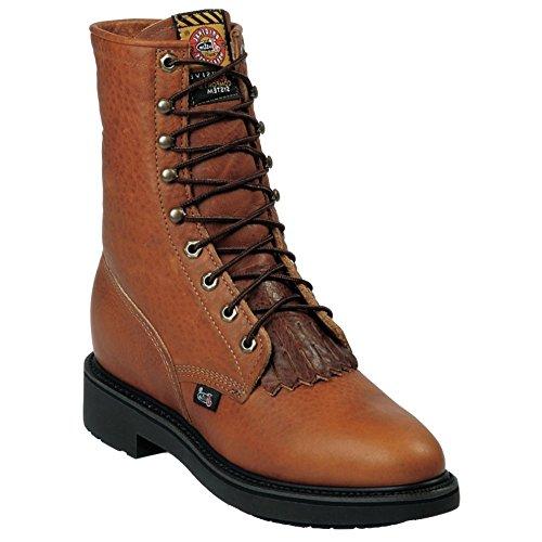 Jow Mens Justin Original Briar Pitstop Double Comfort 8 Lace-Up Work Boot Copper 9 EEE US cjw485AL6