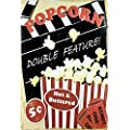 Uniq Designs Popcorn Double Feature Media Room Decor Tin Signs Theater Sign Movie Room Decor Accessories Film Decor Home Movie Theater Decor Movie Reel Wall Decor Vintage Movie Decor 12x8