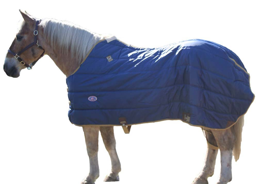 Derby Originals 420D Breathable Water-Resistant Nylon Heavyweight Winter Horse Stable Blanket  - Heavy Weight 300g Polyfil Insulation, West Style, 78'', Navy Blue by Derby Originals