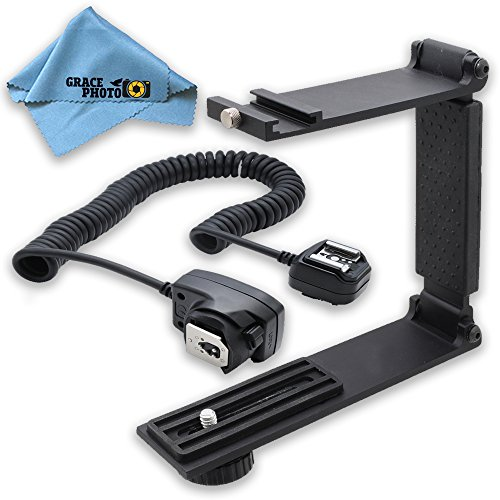 Flash Twin Softbox Kit (Mini Portable Folding Bracket + Off-Camera Shoe Cord + Cleaning Cloth For Canon Rebel SL1, T3i, T5, T5i, T6, T6i, T6s)