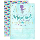 Mermaid Baby Shower Invitation, Blue and Gold Mermaid Baby...