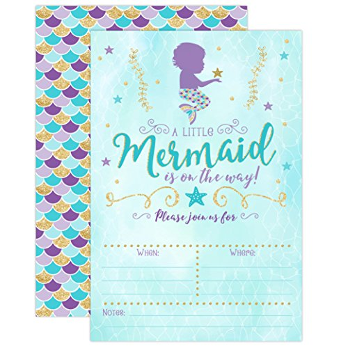 Mermaid Baby Shower Invitation, Blue and Gold Mermaid Baby Shower, Baby Sprinkle Invite, 20 Fill in Invitations and Envelopes -