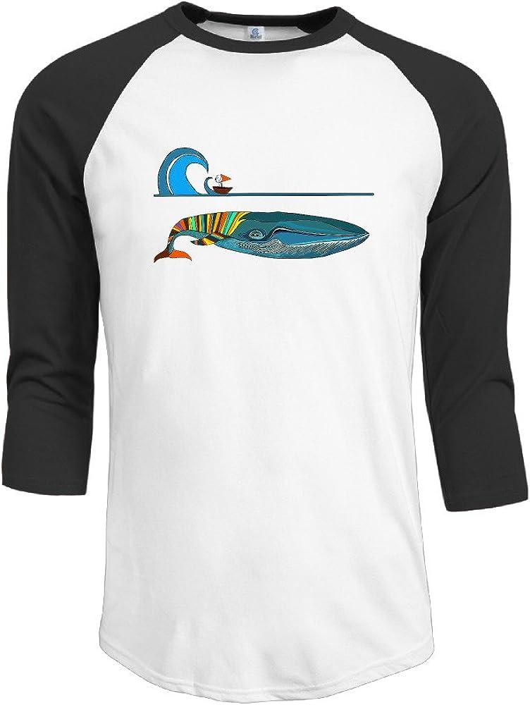 Ballena y diseño de barco para hombre 3/4 Manga béisbol camiseta camisas: Amazon.es: Ropa y accesorios