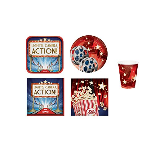 Movie Theme Party Supplies - Hollywood Lights Plates Napkins Cups - Party Decorations Set for 16 (Hollywood Theme Supplies)