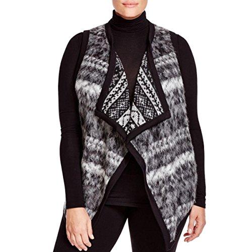 Karen Kane Womens Plus Mohair Reversible Vest Gray 3X