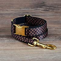 Luxury Designer Dog Collar and Leash Set, Chocolate Brown Checkered Pattern - Adjustable with Gold Metal Hardware for Mini, X-Small, Medium, X-Large Breeds