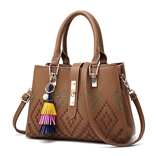 GWQGZ Una Nueva Moda Dama Con Un Bolso Y Un Simple Bolso. Brown Brown