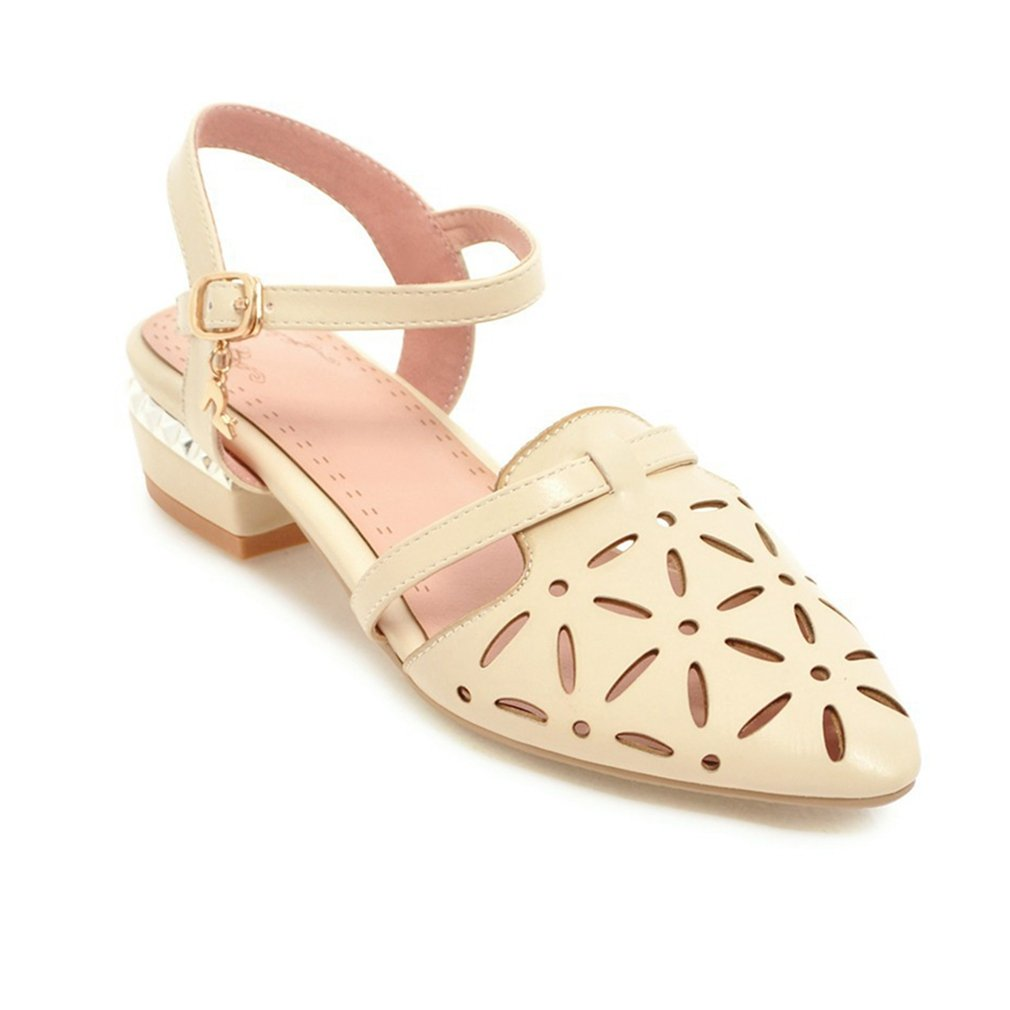 GIY Women's Flat Low Heel Sandals Hollow Pointed Toe Hollow Sandals Out Comfort Summer Beach Casual Dress Sandals Shoes B07F9LP5Z8 4.5 B(M) US|Beige 708c24
