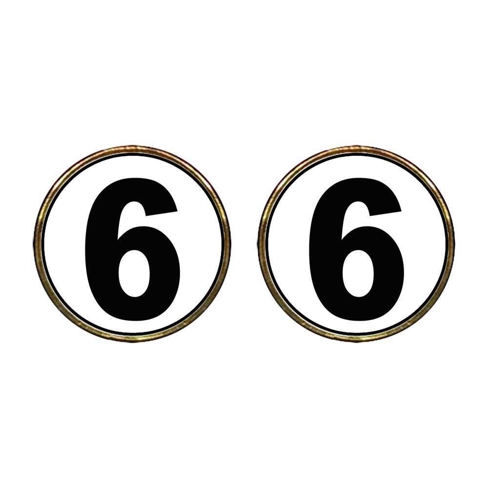 GiftJewelryShop Gold Plated Black Number 6 Photo Stud Earrings 12mm Diameter