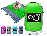 Sand Free Compact Outdoor Beach / Picnic Blanket- Huge-9' x 10' For 7 Adults- Best Mat For Festivals & Hiking-Very Soft & Quick Drying Ripstop Nylon-5 Weightable Pockets + 4 Anchor Loops & Stakes