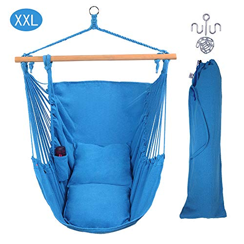ONCLOUD XXL Large Hanging Rope Hammock Chair Porch Swing with 2 Pillows, Hanging Hardware and Drink Holder, Perfect for Indoor/Outdoor Home Bedroom Patio Deck Yard Garden (Sky Blue)