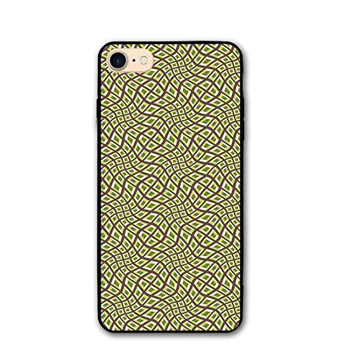 Haixia iPhone 7/8 Cover Case 4.7 inch Abstract Lines Squares Design Pale Colors Ornate Surrealism Inspired Decorative Chocolate Yellow Green Olive -