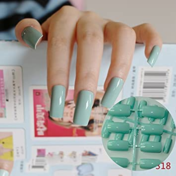 24pcs Flat Curved False Nails Light Green Nail Art Acrylic Tips Press On Full