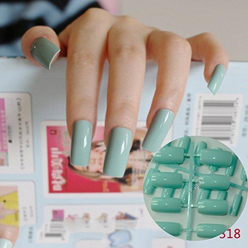(24pcs Flat Curved False Nails Light Green Nail Art Acrylic Tips Press-On Nails Full Wraps Simply DIY 318L)