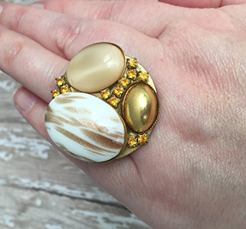 Cabochon Cluster Ring - Mixed Stone Statement Cocktail Ring with Moon Stone and Gold Tone Metal on Adjustable Base