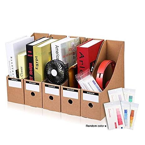 CAVEEN Caja de Almacenamiento de la Oficina Revistero Archivador con Cédula Kraft Paper Organizador de Documentos