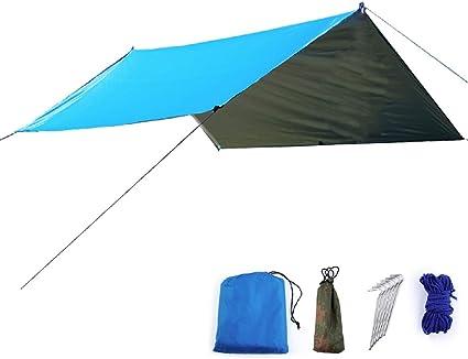 Zeltunterlage Tarp f/ür H/ängematte Picknickdecke Regenschutz Sonnenschutz f/ür Ourdoor Camping TRIWONDER Wasserdichte Zeltplane